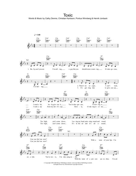 Download Toxic Sheet Music By Britney Spears - Sheet Music Plus