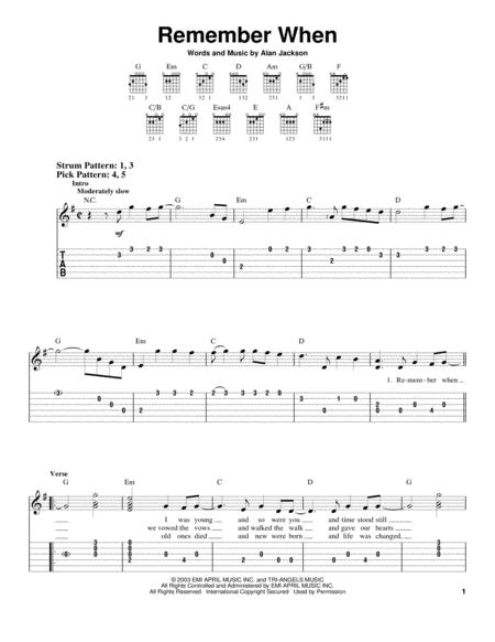 Download Remember When Sheet Music By Alan Jackson - Sheet Music Plus