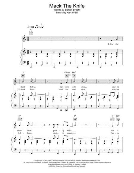 Download Mack The Knife Sheet Music By Bobby Darin Sheet Music Plus
