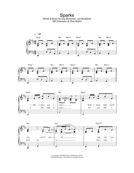 Download Sparks Sheet Music By Coldplay - Sheet Music Plus