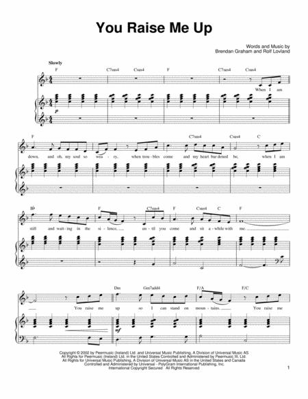 Download You Raise Me Up Sheet Music By Rolf Lovland Sheet Music Plus