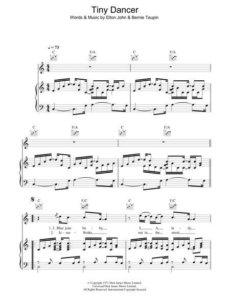 Download Tiny Dancer Sheet Music By Elton John Sheet Music Plus
