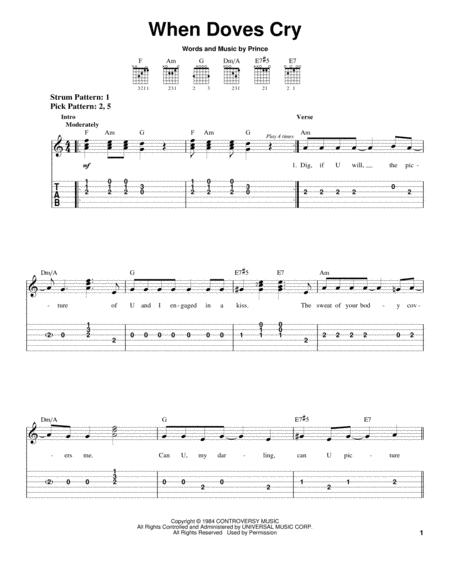 Download When Doves Cry Sheet Music By Prince Sheet Music Plus