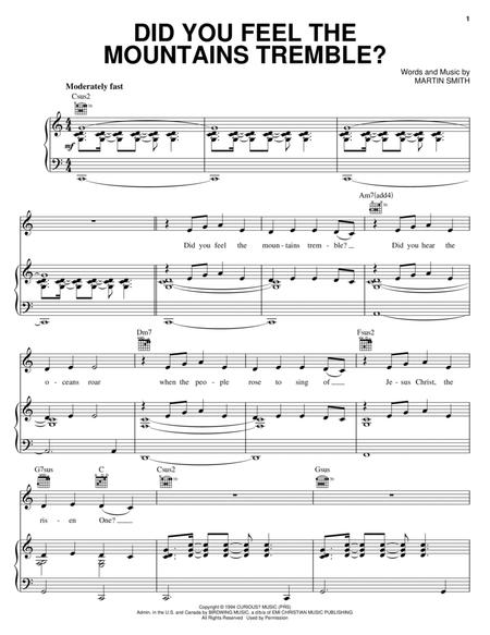 Download Did You Feel The Mountains Tremble Sheet Music By