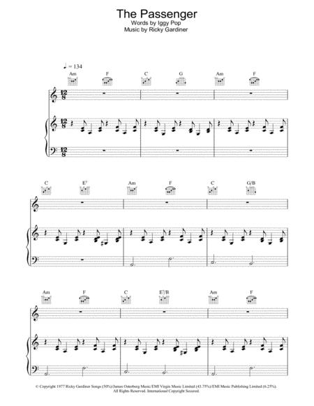 Download The Passenger Sheet Music By Iggy Pop Sheet Music Plus