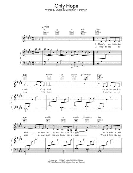 Download Only Hope Sheet Music By Mandy Moore - Sheet Music Plus