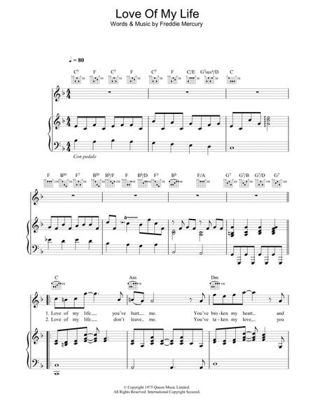 Download Love Of My Life Sheet Music By Queen - Sheet Music Plus