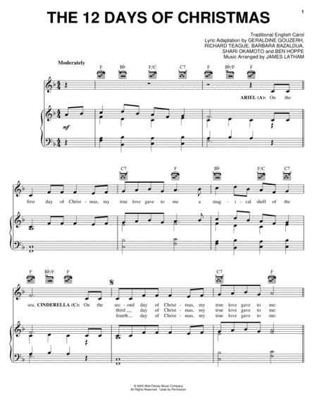 12 Days Of Christmas Sheet Music.The 12 Days Of Christmas By Traditional English Carol