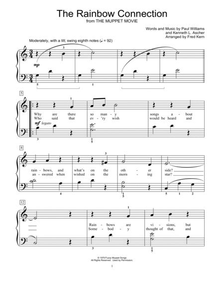 Download The Rainbow Connection Sheet Music By Paul Williams - Sheet ...
