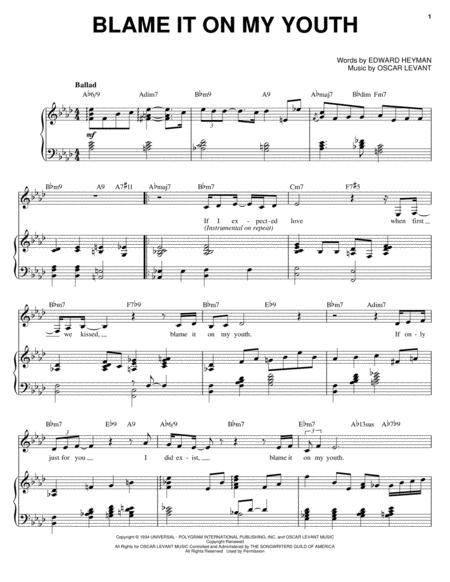 Download Blame It On My Youth Sheet Music By Oscar Levant Sheet