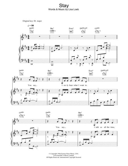 Download Stay I Missed You Sheet Music By Lisa Loeb Sheet Music Plus