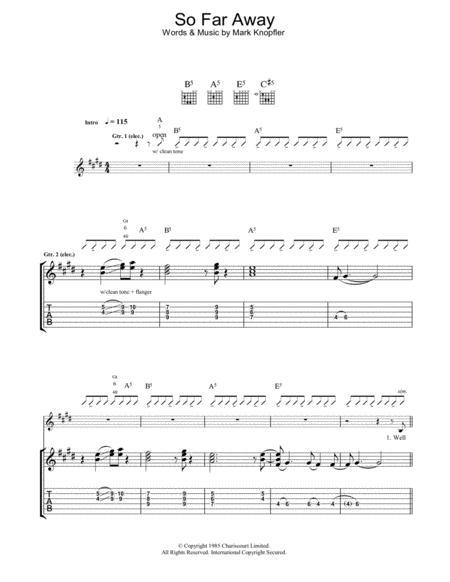Download So Far Away Sheet Music By Dire Straits - Sheet Music Plus