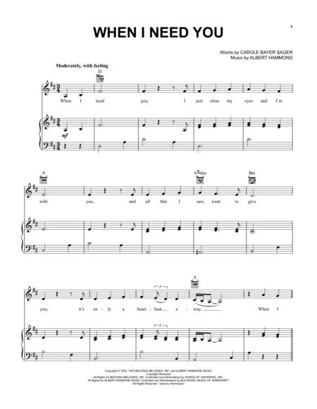 Download When I Need You Sheet Music By Leo Sayer Sheet Music Plus