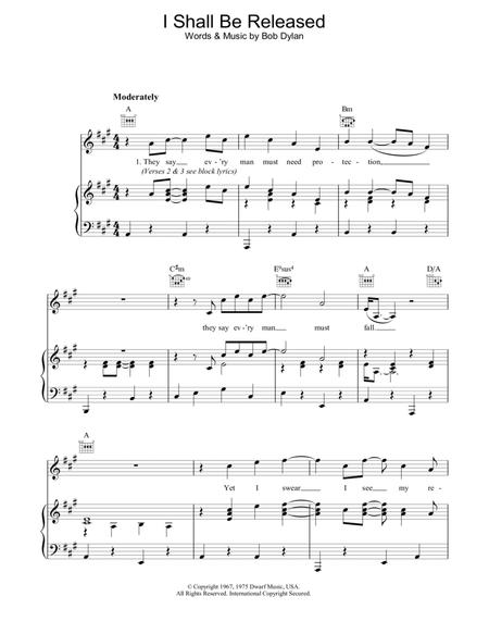 Download I Shall Be Released Sheet Music By Bob Dylan - Sheet Music Plus