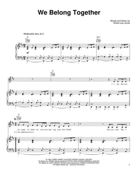 Download We Belong Together Sheet Music By Rickie Lee Jones - Sheet ...
