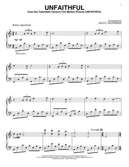 Download Unfaithful Sheet Music By Jan Ap Kaczmarek Sheet Music Plus