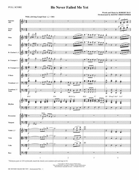 He Never Failed Me Yet (orch. Keith Christopher) - Full Score
