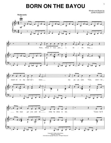 Download Born On The Bayou Sheet Music By Creedence Clearwater