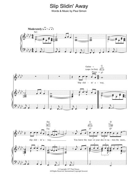 Download Slip Slidin Away Sheet Music By Paul Simon Sheet Music Plus