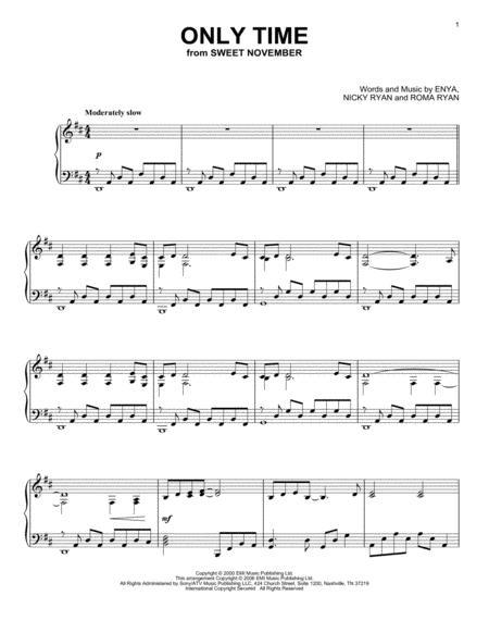 Download Only Time Sheet Music By Enya Sheet Music Plus