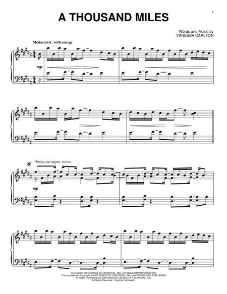 1000 miles vanessa carlton piano sheet music free