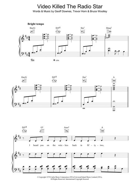 Download Video Killed The Radio Star Sheet Music By The Buggles ...