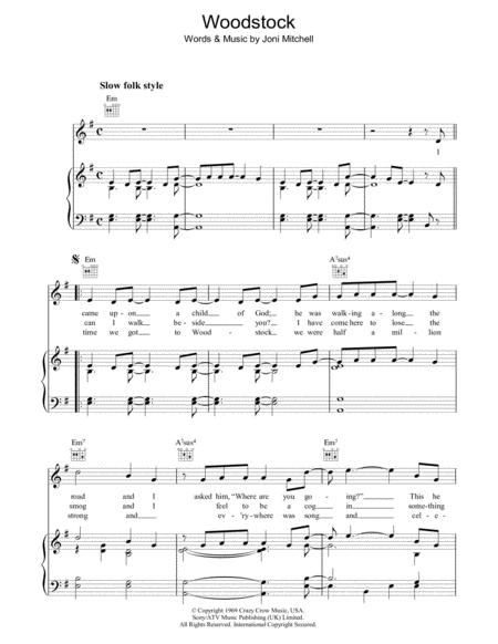 Woodstock By Joni Mitchell Digital Sheet Music For Piano