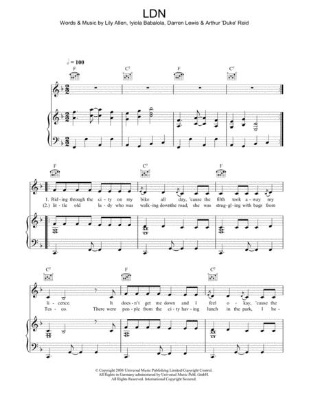 Download Ldn Sheet Music By Lily Allen Sheet Music Plus
