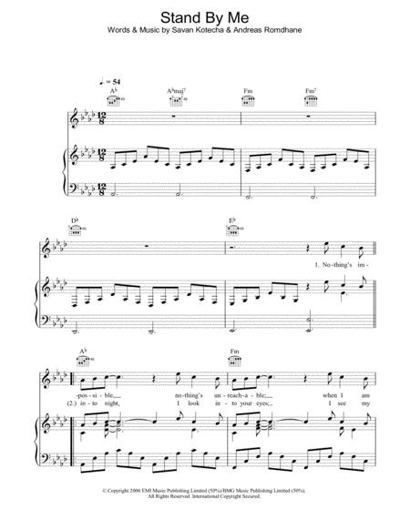 Download Stand By Me Sheet Music By Shayne Ward - Sheet Music Plus