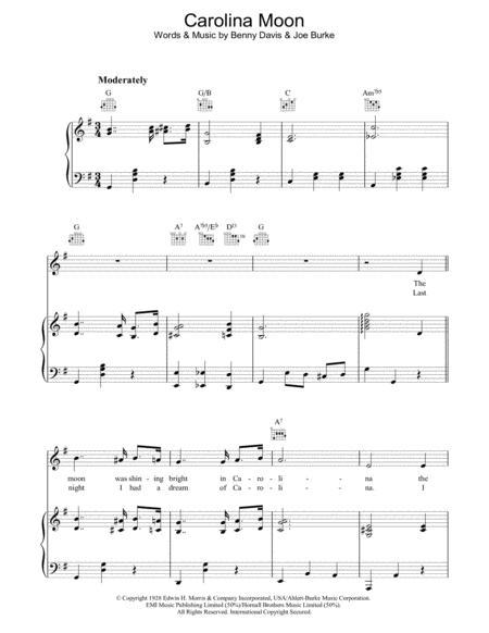 Download Carolina Moon Sheet Music By Joe Burke Sheet Music Plus
