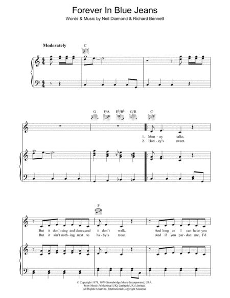Download Forever In Blue Jeans Sheet Music By Neil Diamond - Sheet ...