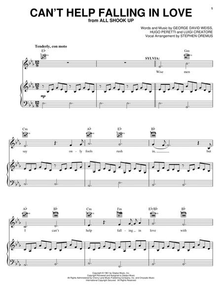 Download Cant Help Falling In Love Sheet Music By Elvis Presley