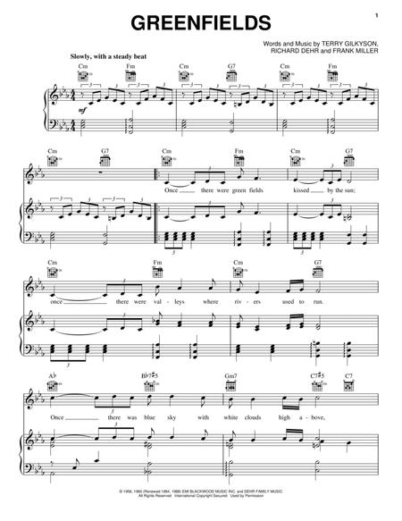 Download Greenfields Sheet Music By The Brothers Four - Sheet Music Plus