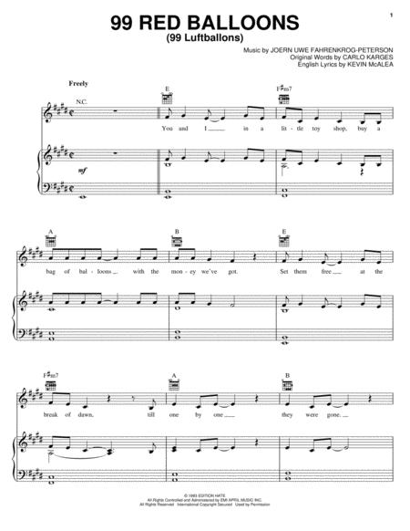 Download 99 Red Balloons 99 Luftballons Sheet Music By Nena