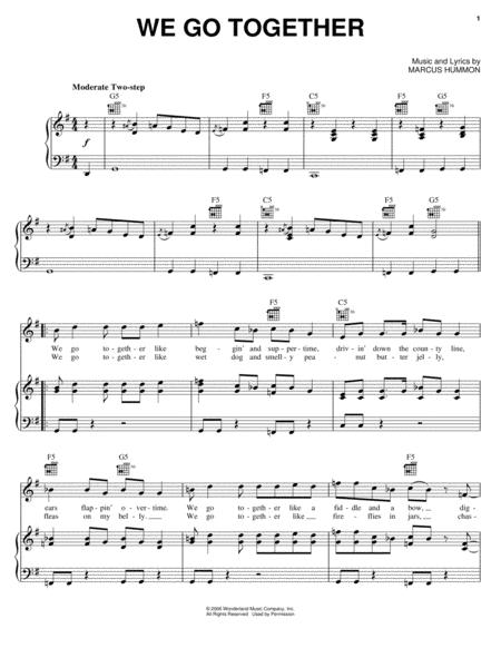 Download We Go Together Sheet Music By Marcus Hummon - Sheet