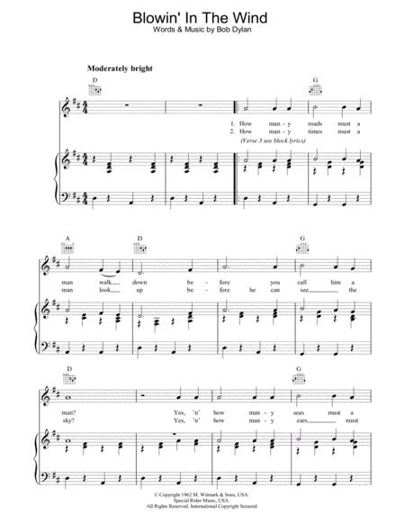 Download Blowin\' In The Wind Sheet Music By Bob Dylan, Peter, Paul ...
