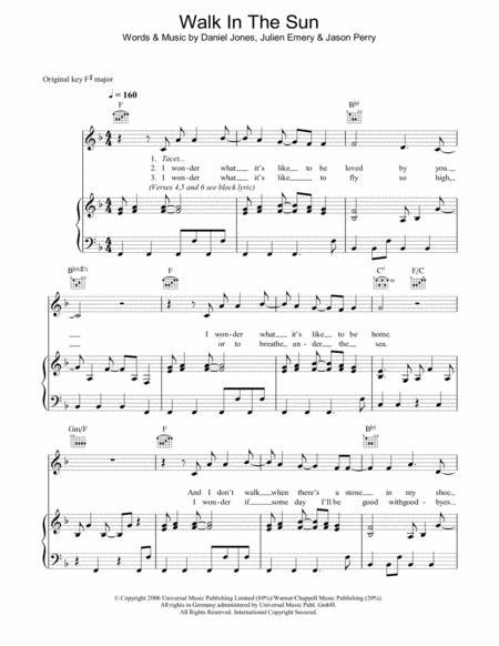 Download Walk In The Sun Sheet Music By McFly - Sheet Music Plus