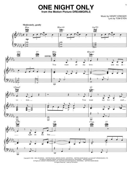 Download One Night Only Sheet Music By Beyonce Knowles - Sheet Music ...