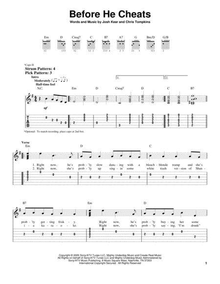 Download Before He Cheats Sheet Music By Carrie Underwood - Sheet ...