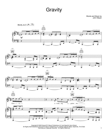 Download Gravity Sheet Music By John Mayer Sheet Music Plus