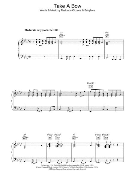 Download Take A Bow Sheet Music By Madonna Sheet Music Plus