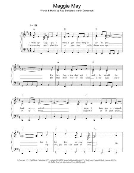 Download Maggie May Sheet Music By Rod Stewart - Sheet Music Plus