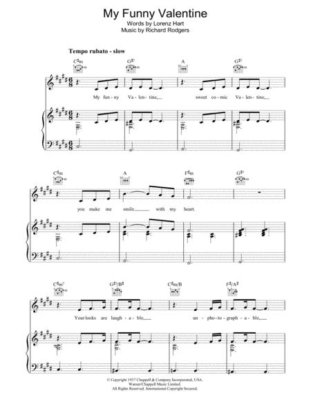Download My Funny Valentine Sheet Music By Elvis Costello Sheet