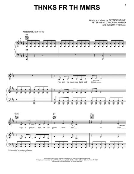 Download Thnks Fr Th Mmrs Sheet Music By Fall Out Boy Sheet Music Plus