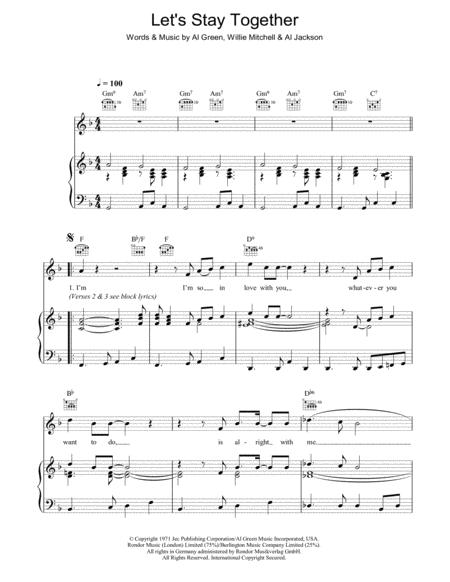 Download Lets Stay Together Sheet Music By Al Green Sheet Music Plus