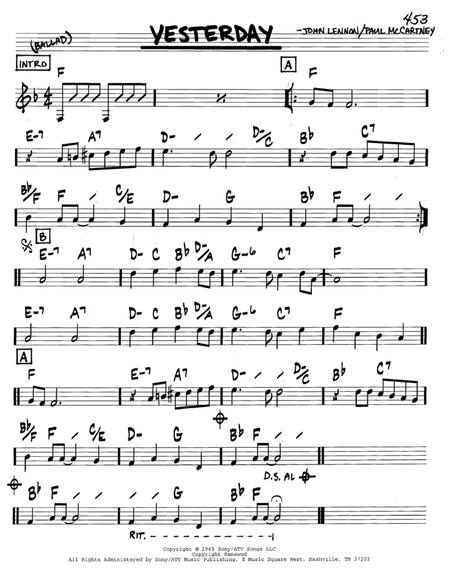 Download Yesterday Sheet Music By The Beatles - Sheet Music Plus