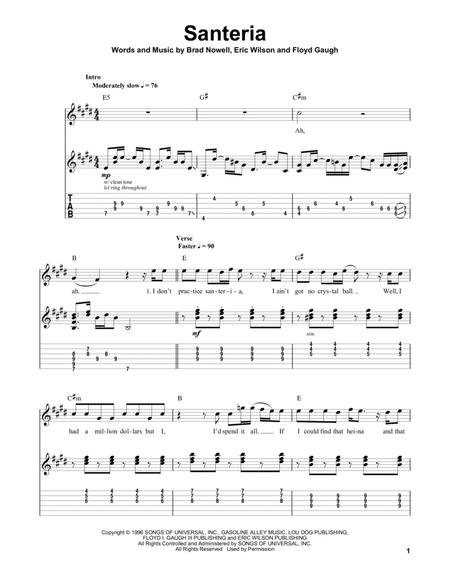Download Santeria Sheet Music By Sublime Sheet Music Plus