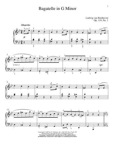 Bagatelle In G Minor, Op. 119, No. 1