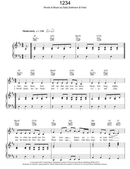Download 1234 Sheet Music By Feist Sheet Music Plus