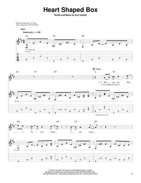 Download Heart Shaped Box Sheet Music By Nirvana - Sheet Music Plus